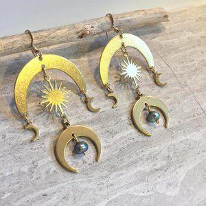 Sun and Moon Brass Earrings